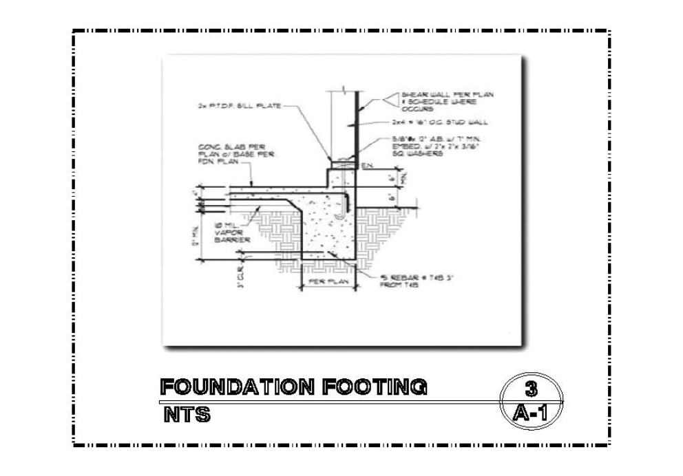 DETAIL-A-3 FOUNDATION FOOTING