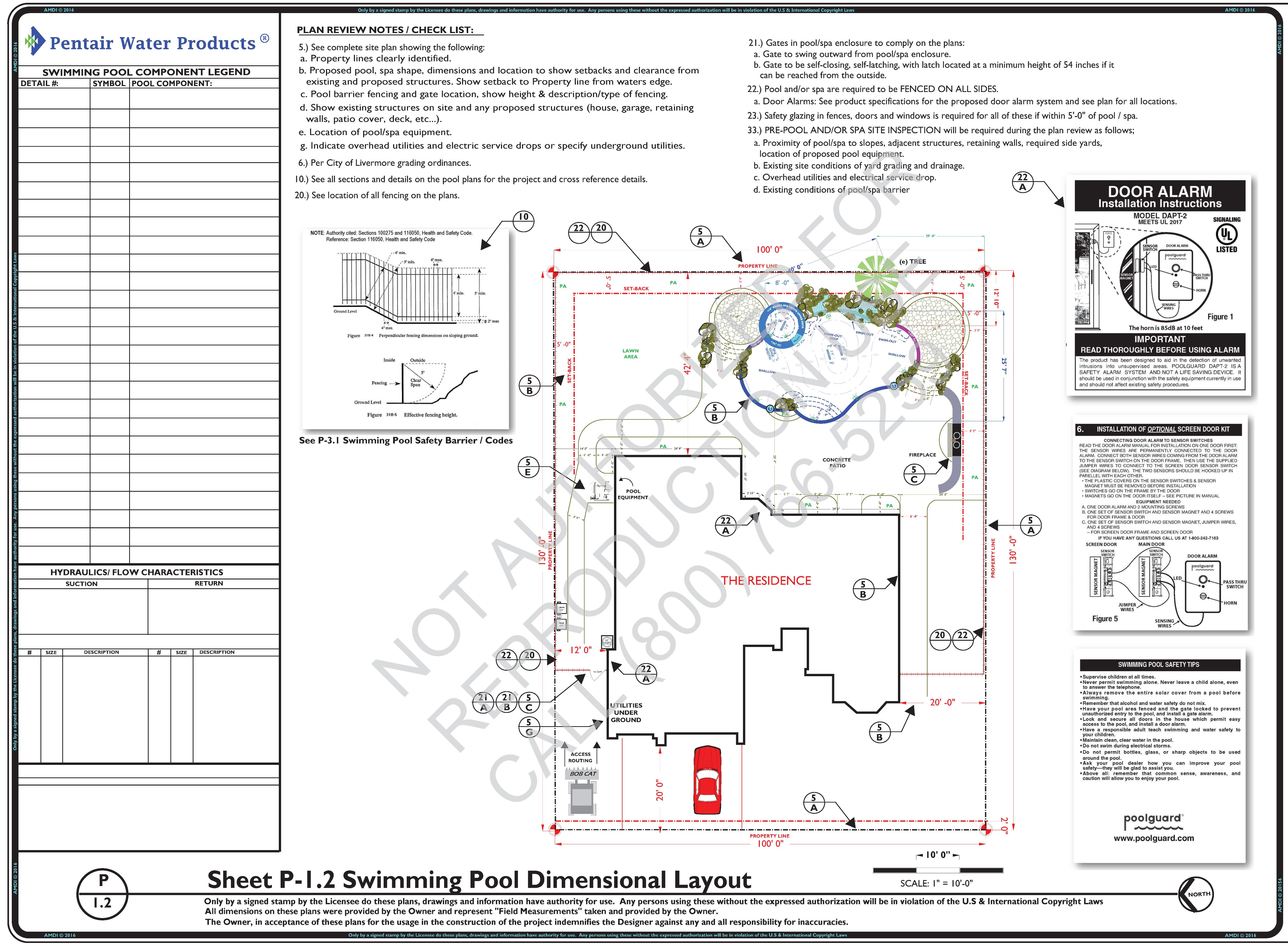 P-1.2 Swimming Pool Dimensional Layout