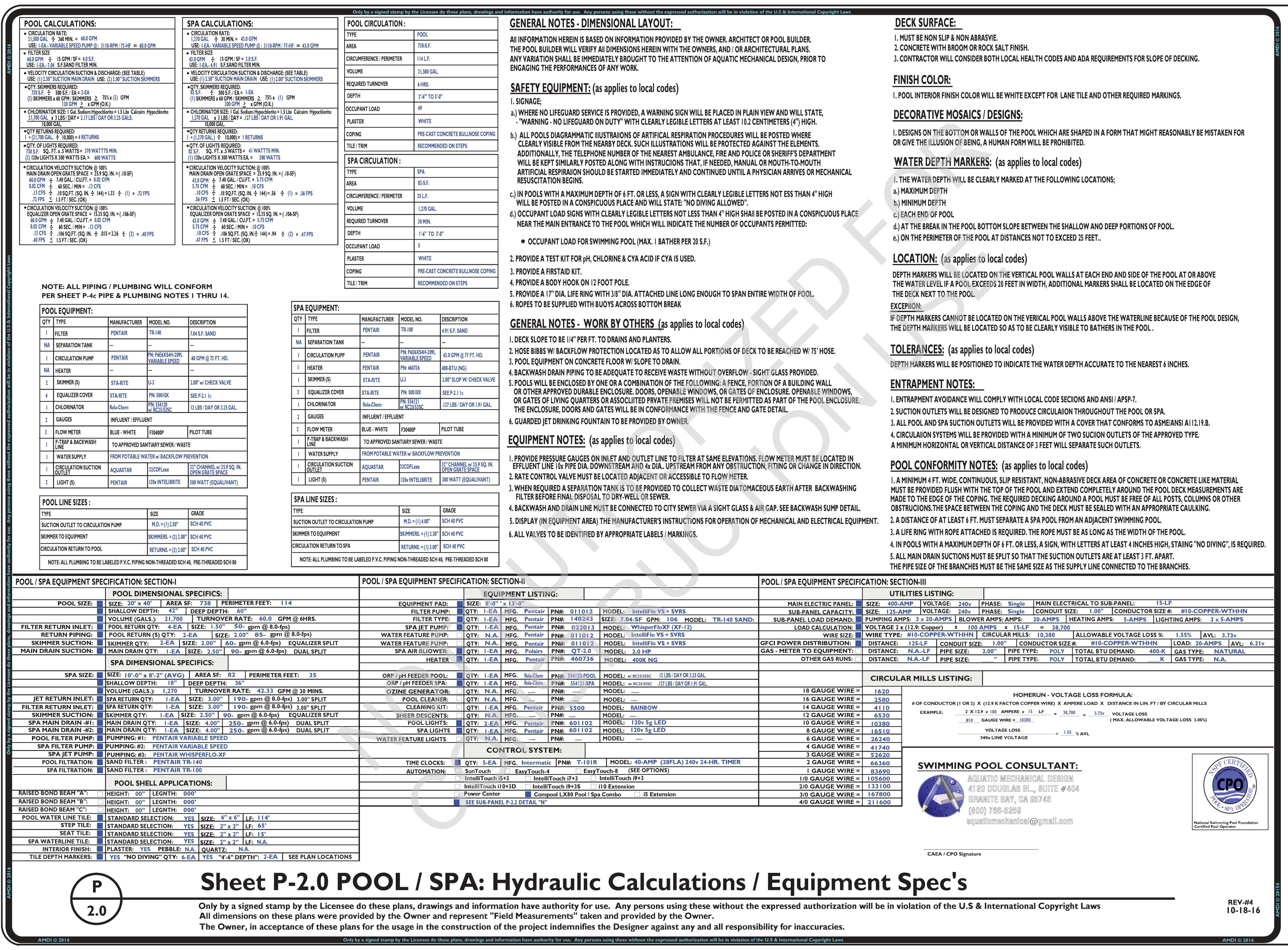 P-2.0 Calculations & Equipment Spec's