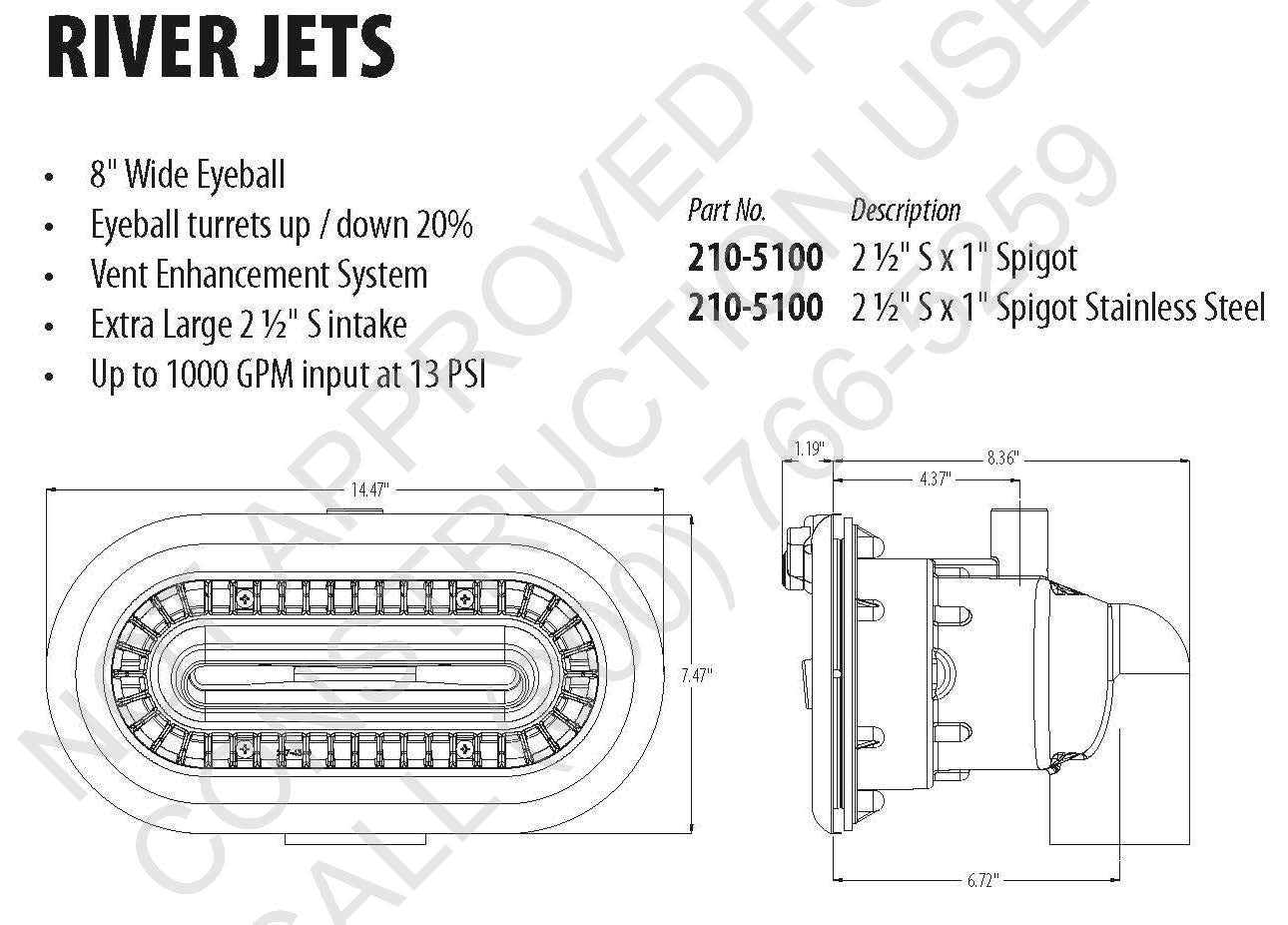 Swim Jet-B Installation Dimensions