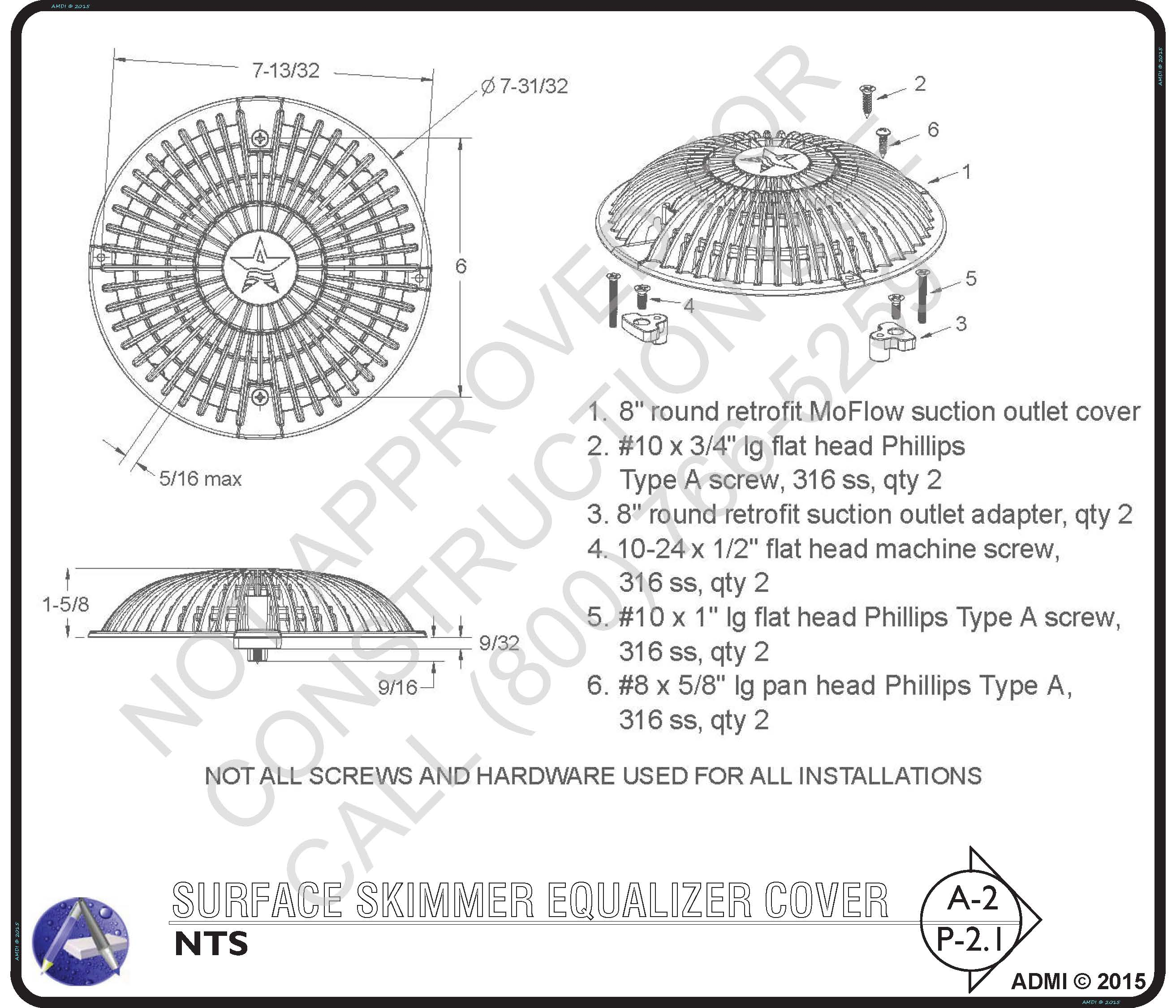 Surface Skimmer Equalizer Dimensions
