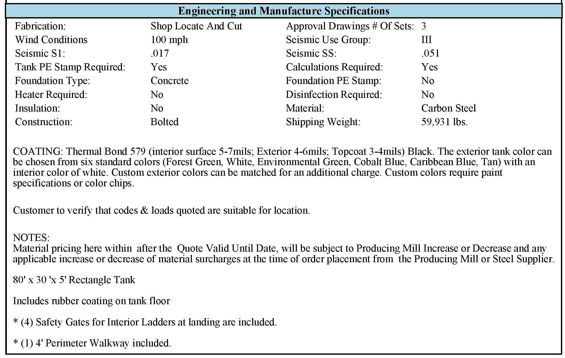 Tank Specification width=