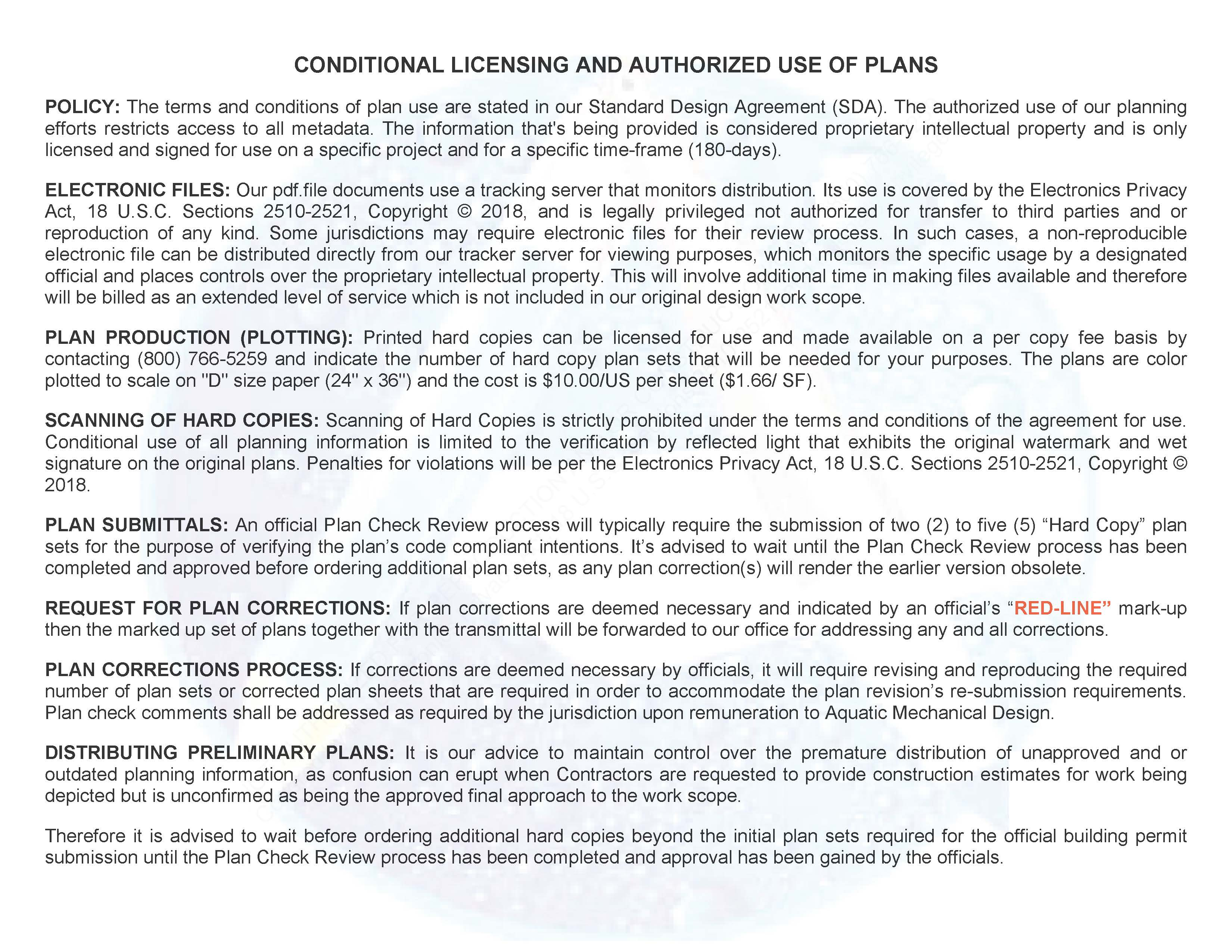 CONDITIONAL LICENSING AND AUTHORIZED USE OF PLANS