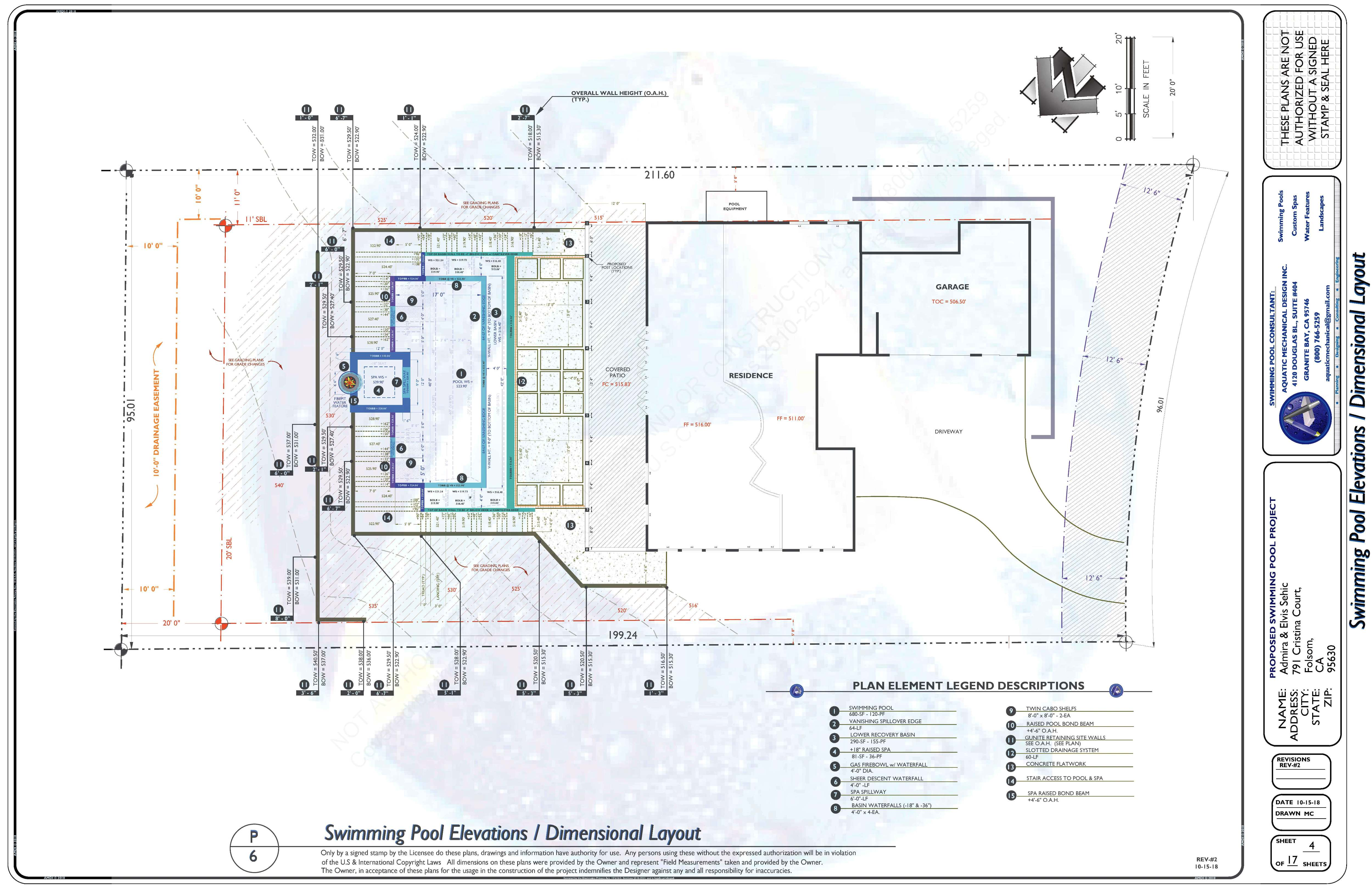 P-6 Preliminary Swimming Pool Elevations / Dimensional Layout