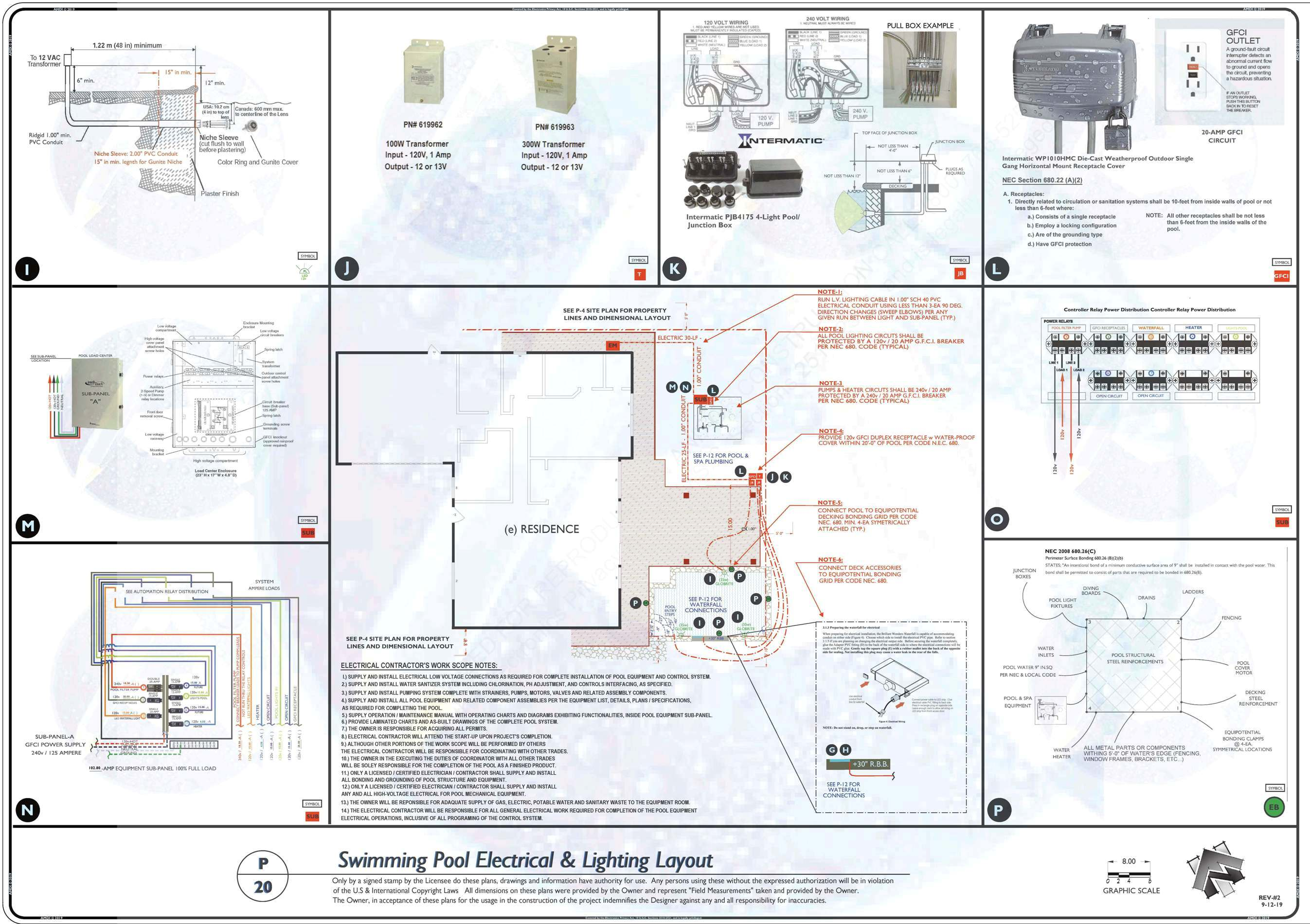 P-20 POOL AND SPA ELECTRICAL AND LIGHTING LAYOUT REV-2