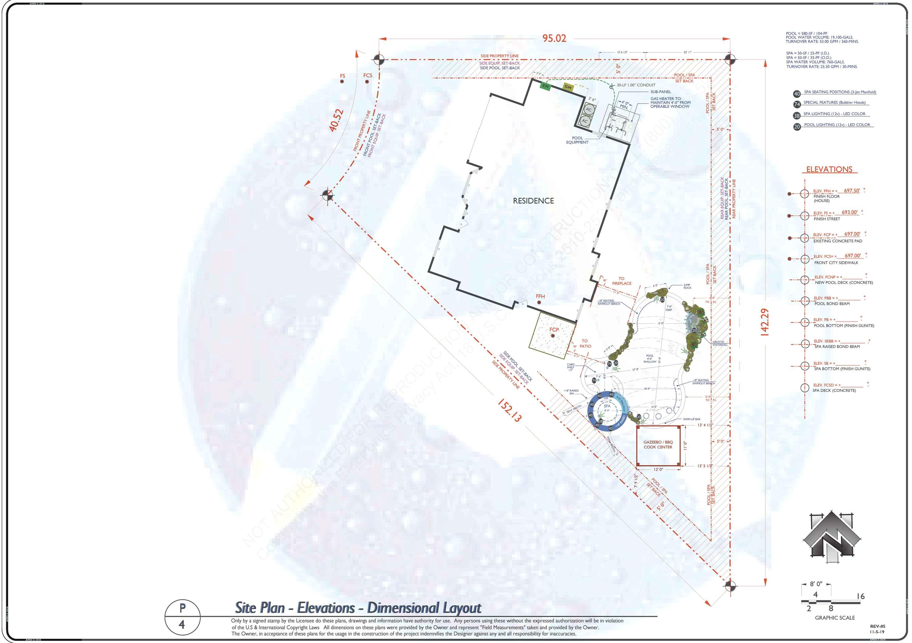 REV-6 SITE PLAN DIMENSIONAL LAYOUT