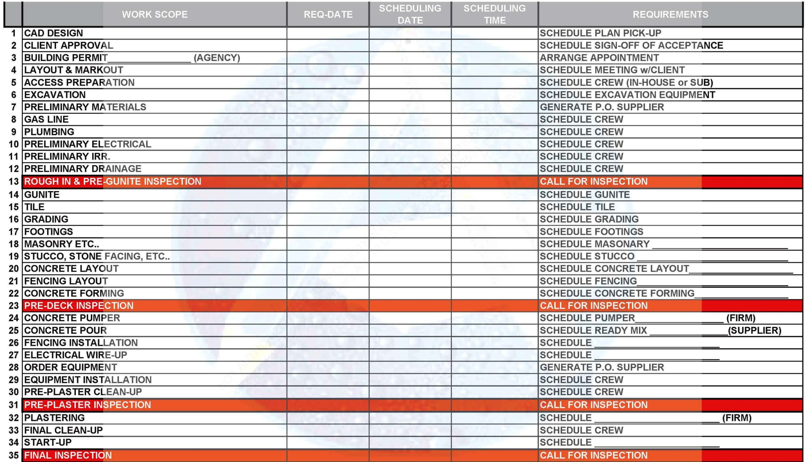 Swimming Pool Scheduling Worksheet Form