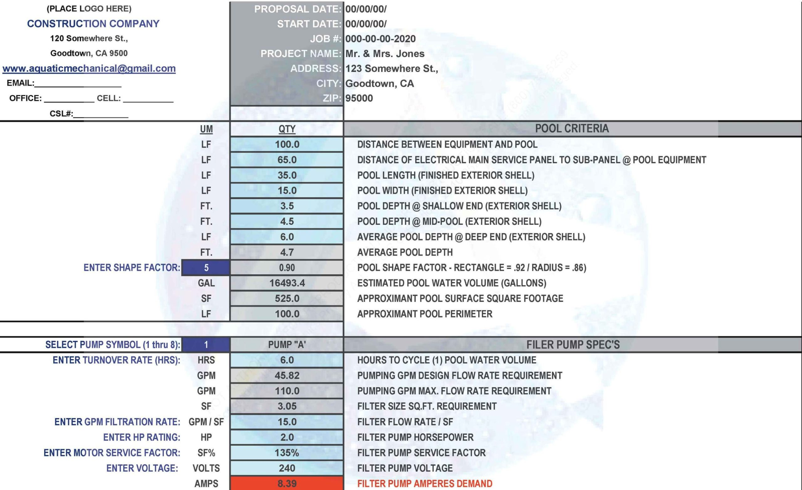 Swimming Pool Estimating Worksheet Form