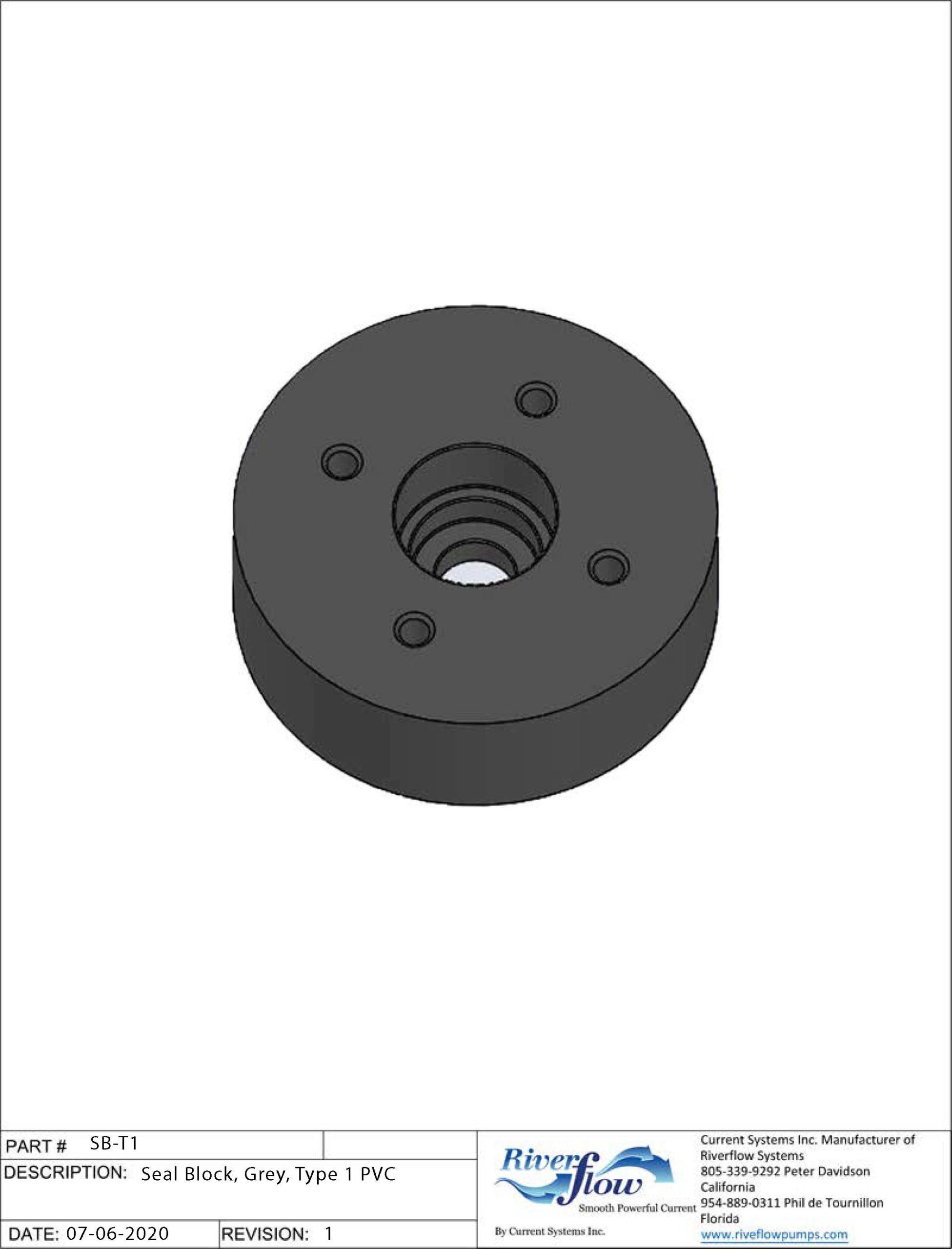 PN#: SB-T1  Seal Block, Grey, Type 1 PVC