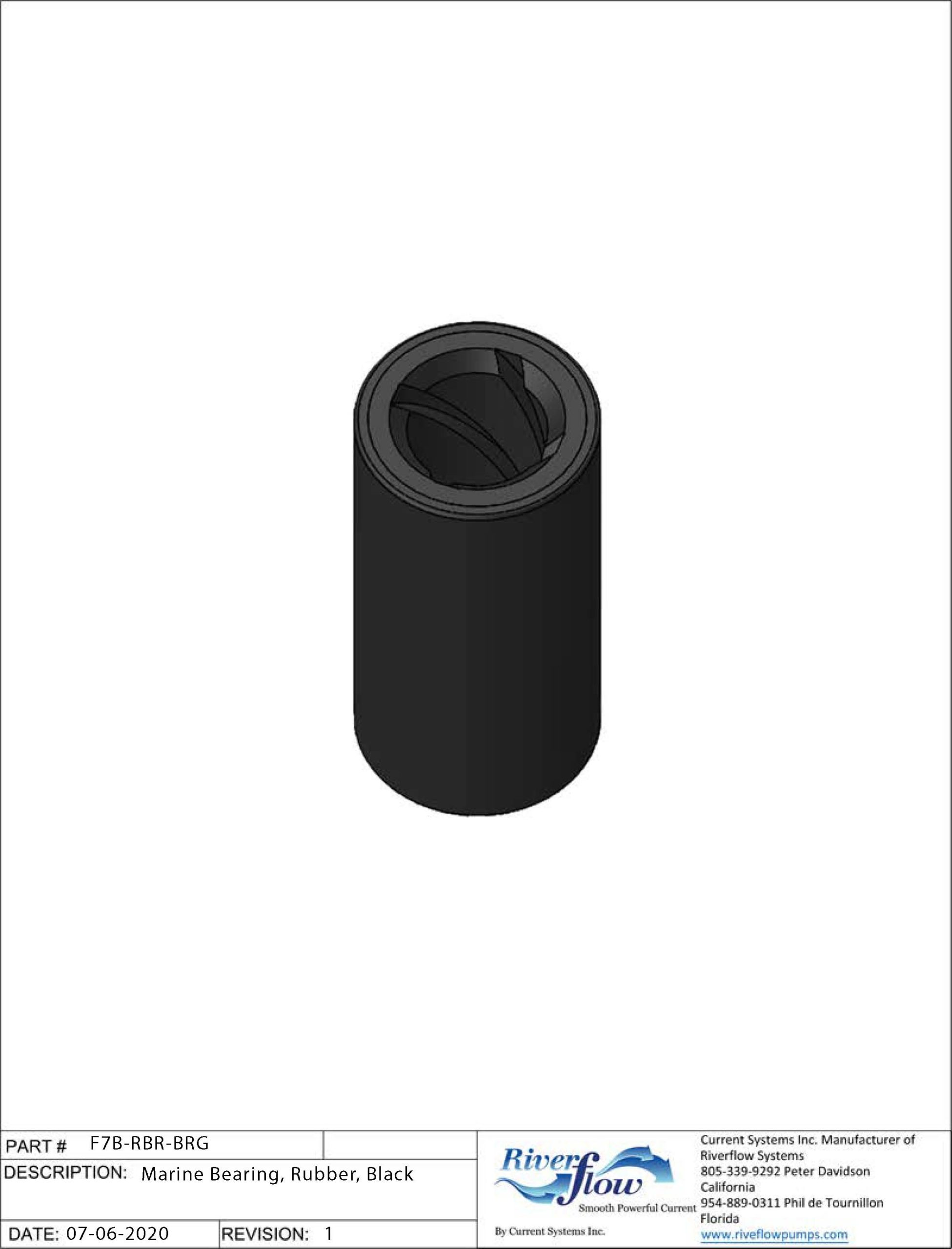 PN#: F7B-RBR-BRG  Marine Bearing, Rubber, Black