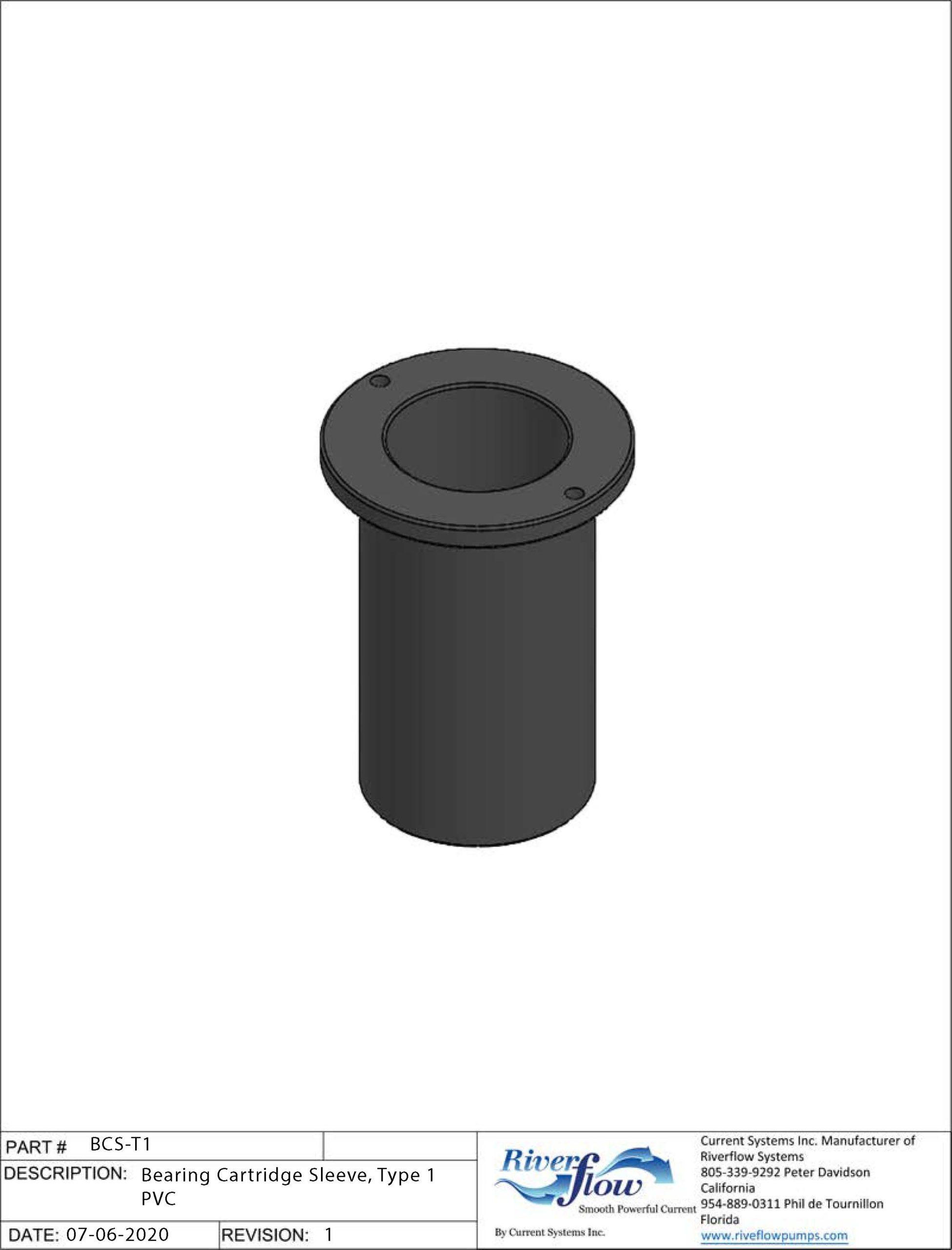BCS-T1 Bearing Cartridge Sleeve, Type 1 PVC