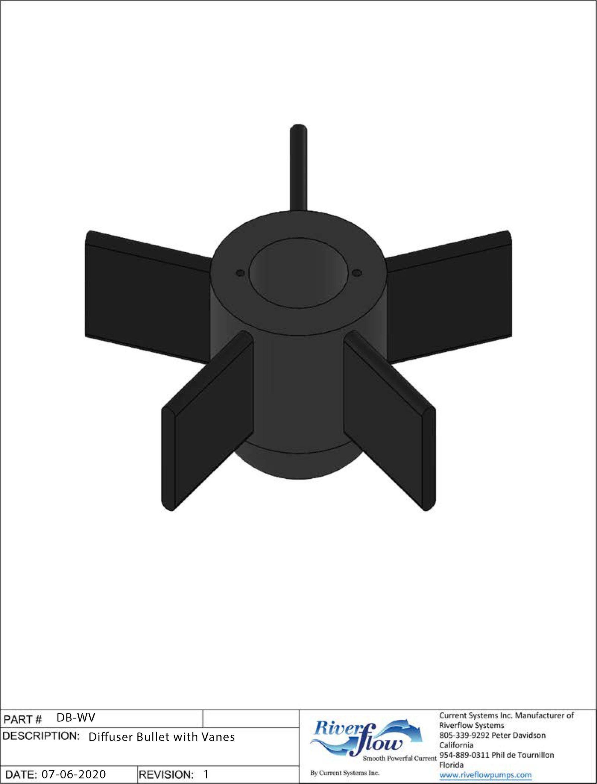 PN#: DB-WV  Diffuser Bullet with Vanes