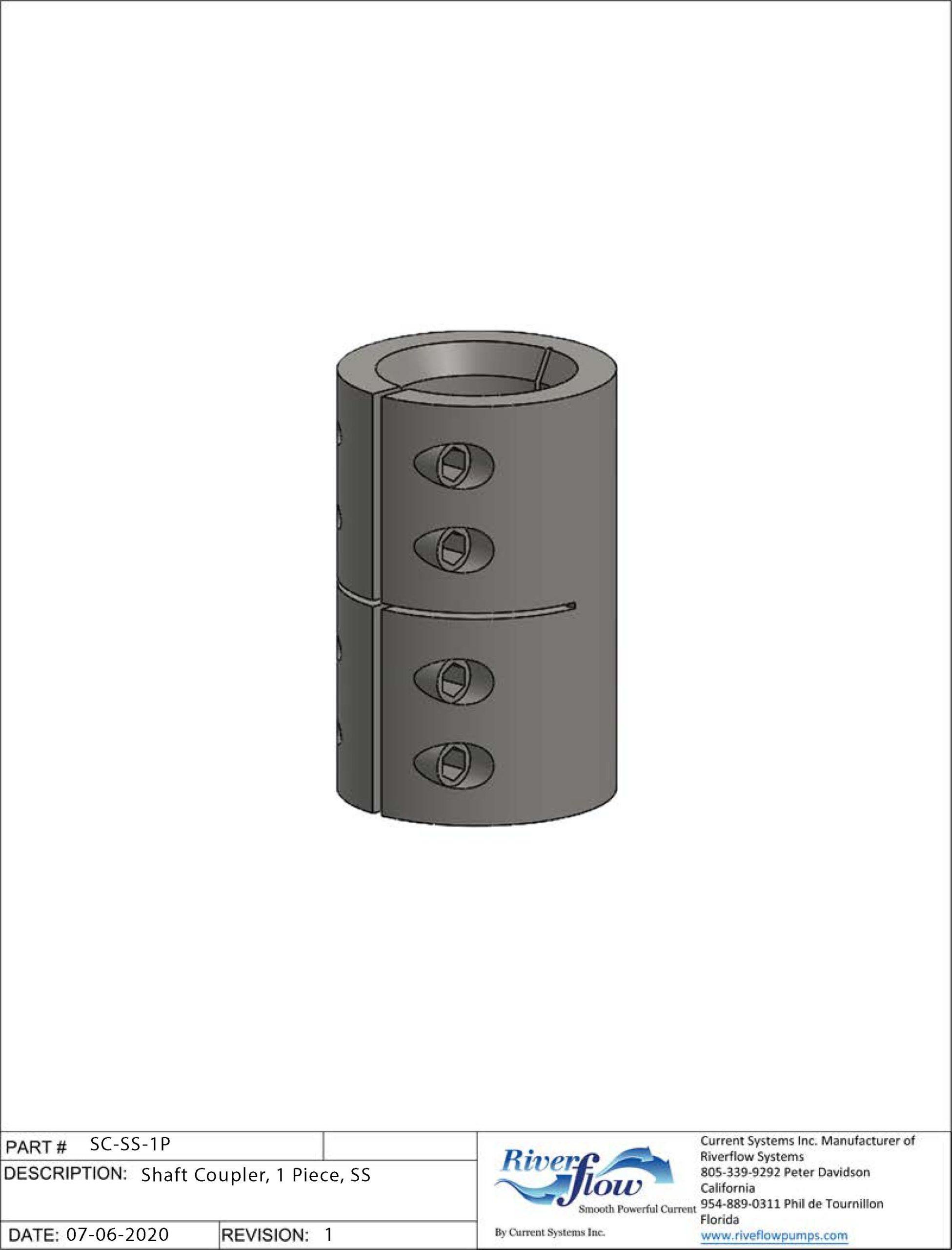 PN#: SC-SS-1P  Shaft Coupler, 1 Piece, SS