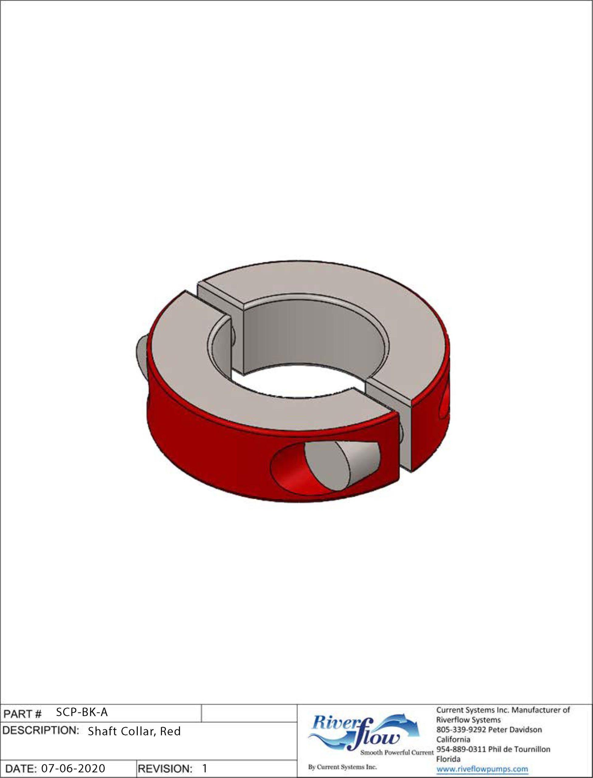 PN#: 2C-100-Z  Shaft Collar, Red