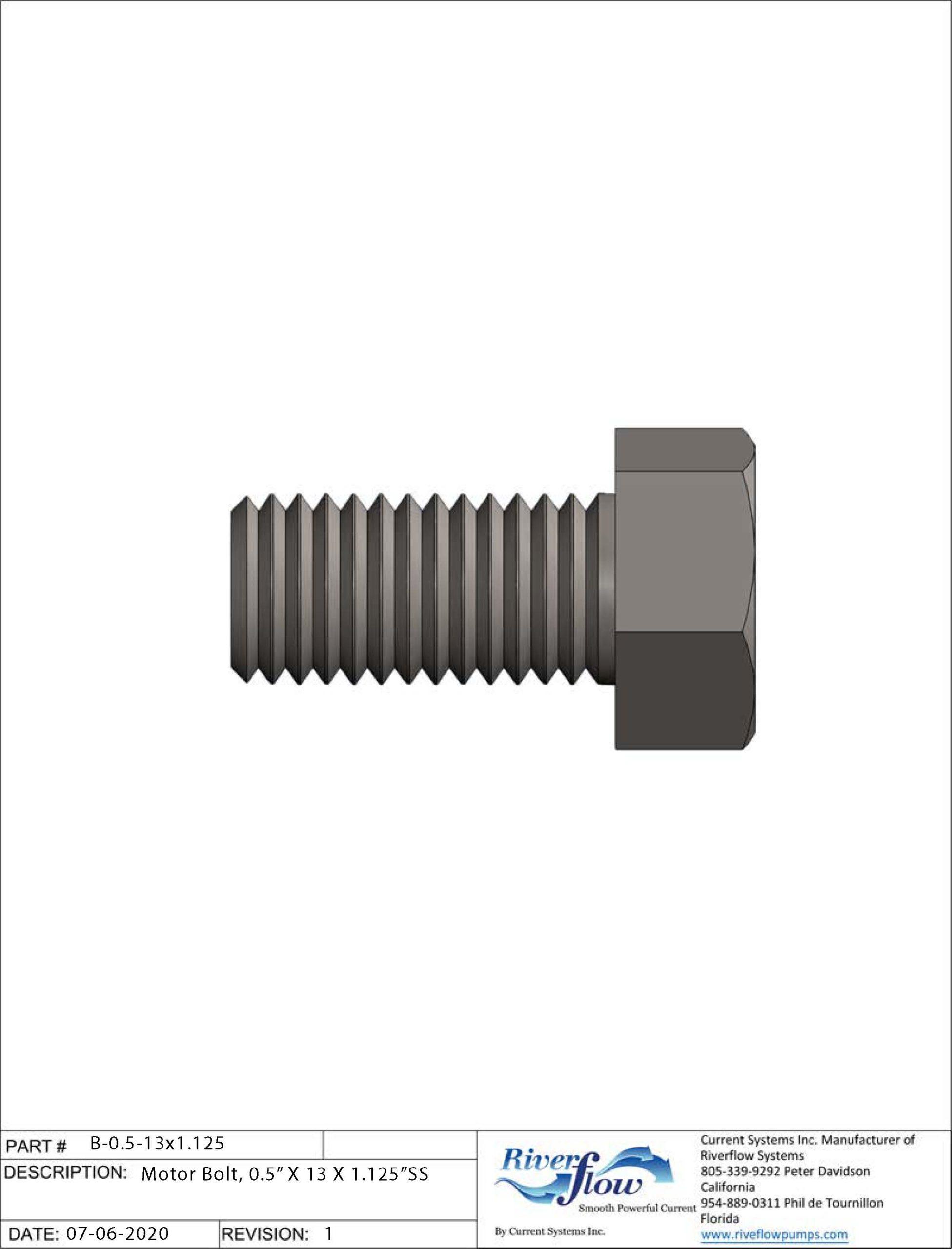 PN#: B-0.5-13x1.125 Motor Bolt, 0.5
