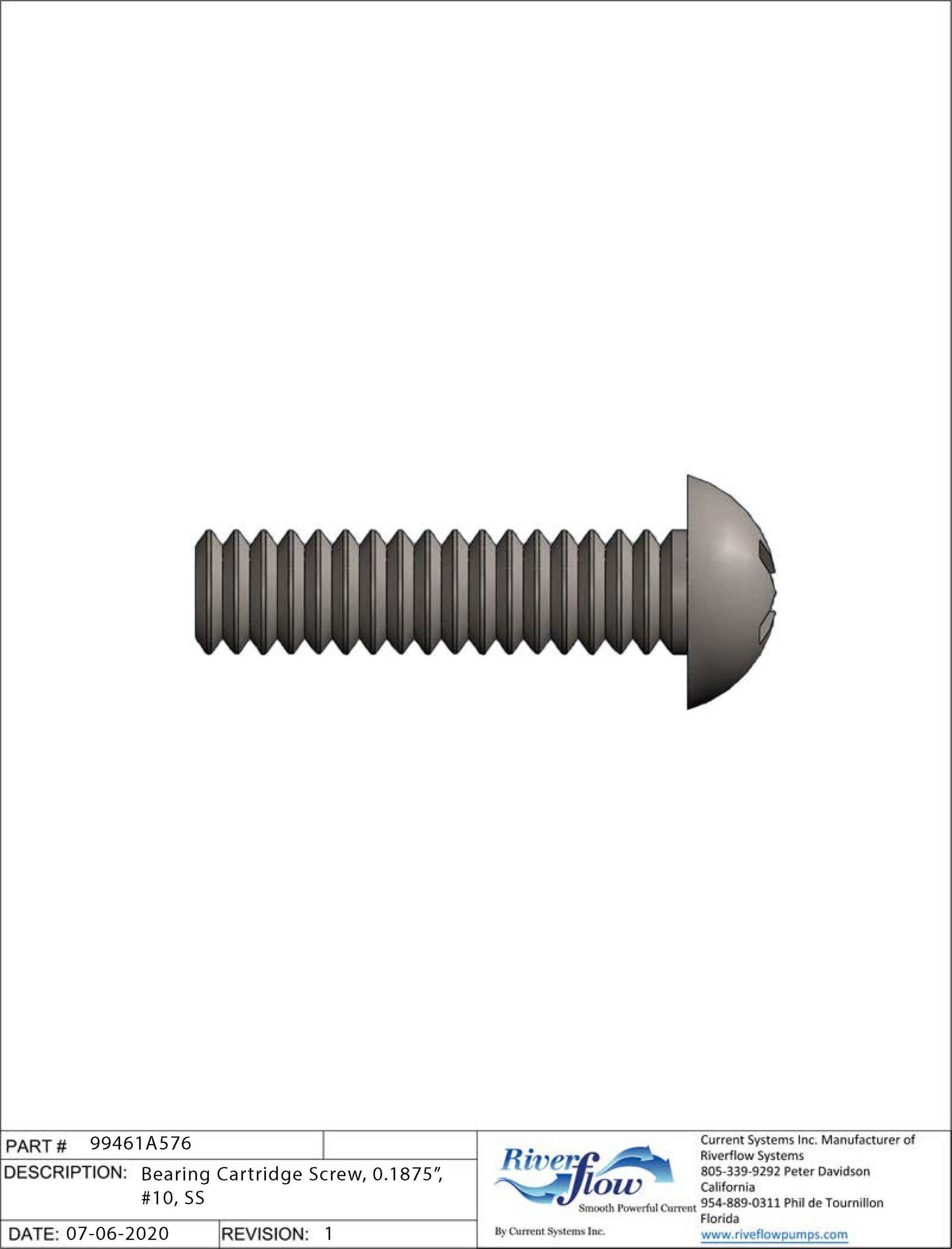 PN#: 99461A576  Bearing Cartridge Screw, 0.1875