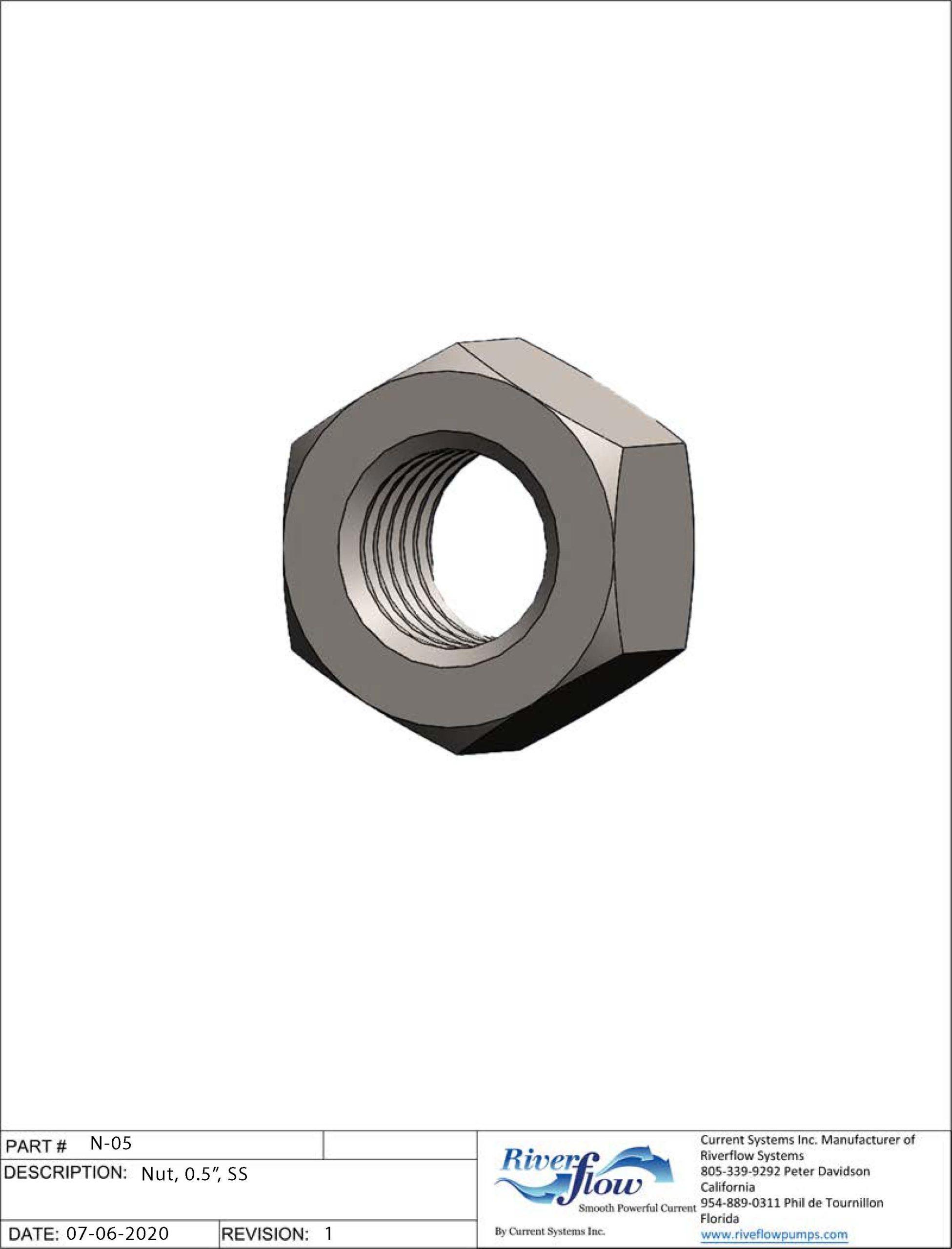 PN#: N-05  Nut, 0.5