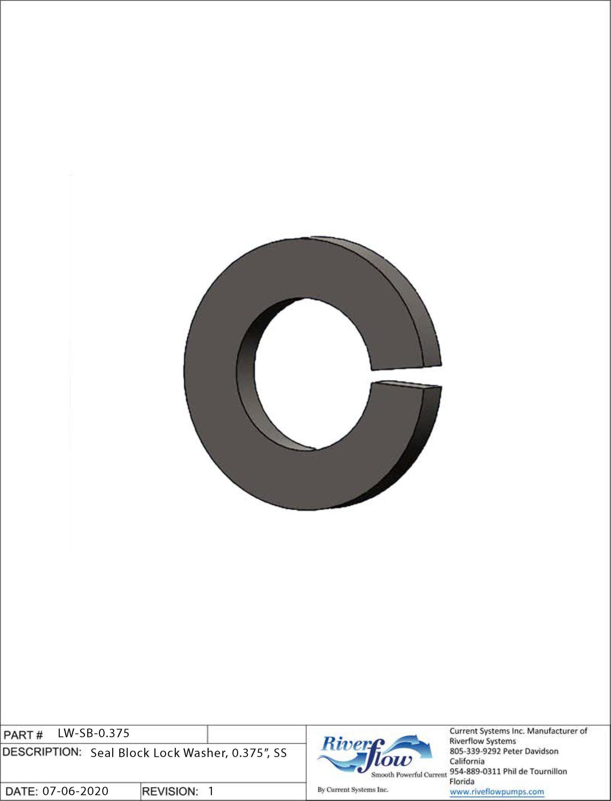 PN#: LW-SB-0.375  Seal Block Lock Washer, 0.375