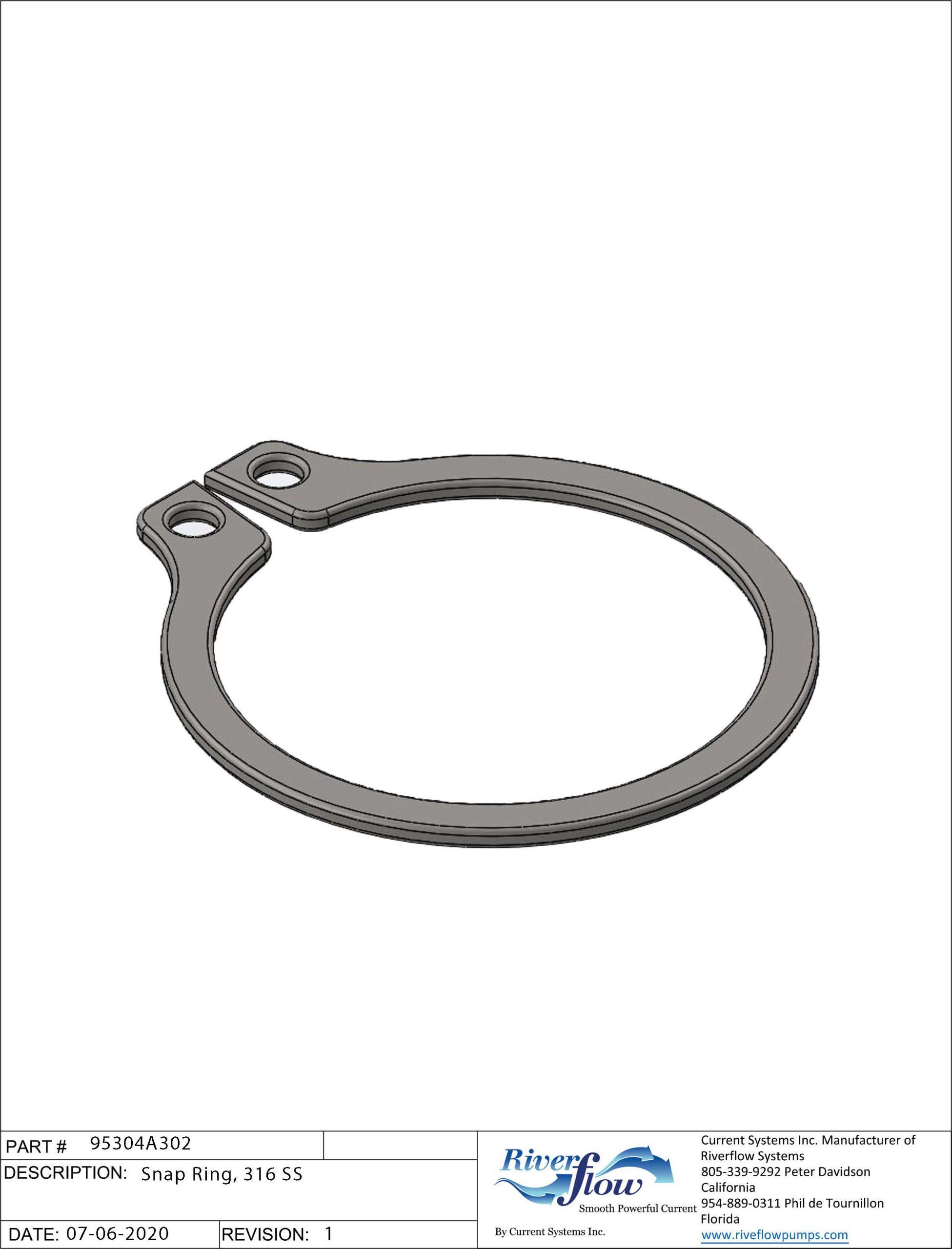 PN#: 95304A302  Snap Ring, 316 SS