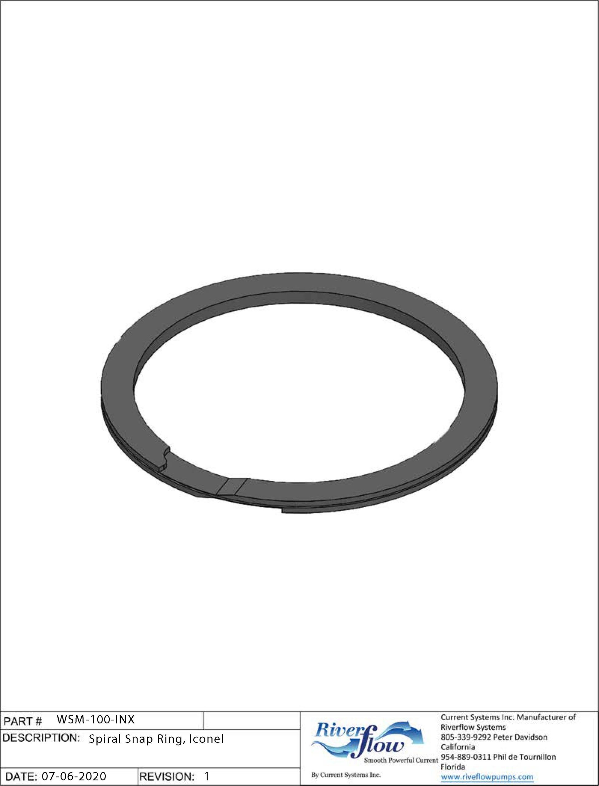 PN#: WSM-100-INX  Spiral Snap Ring, Iconel