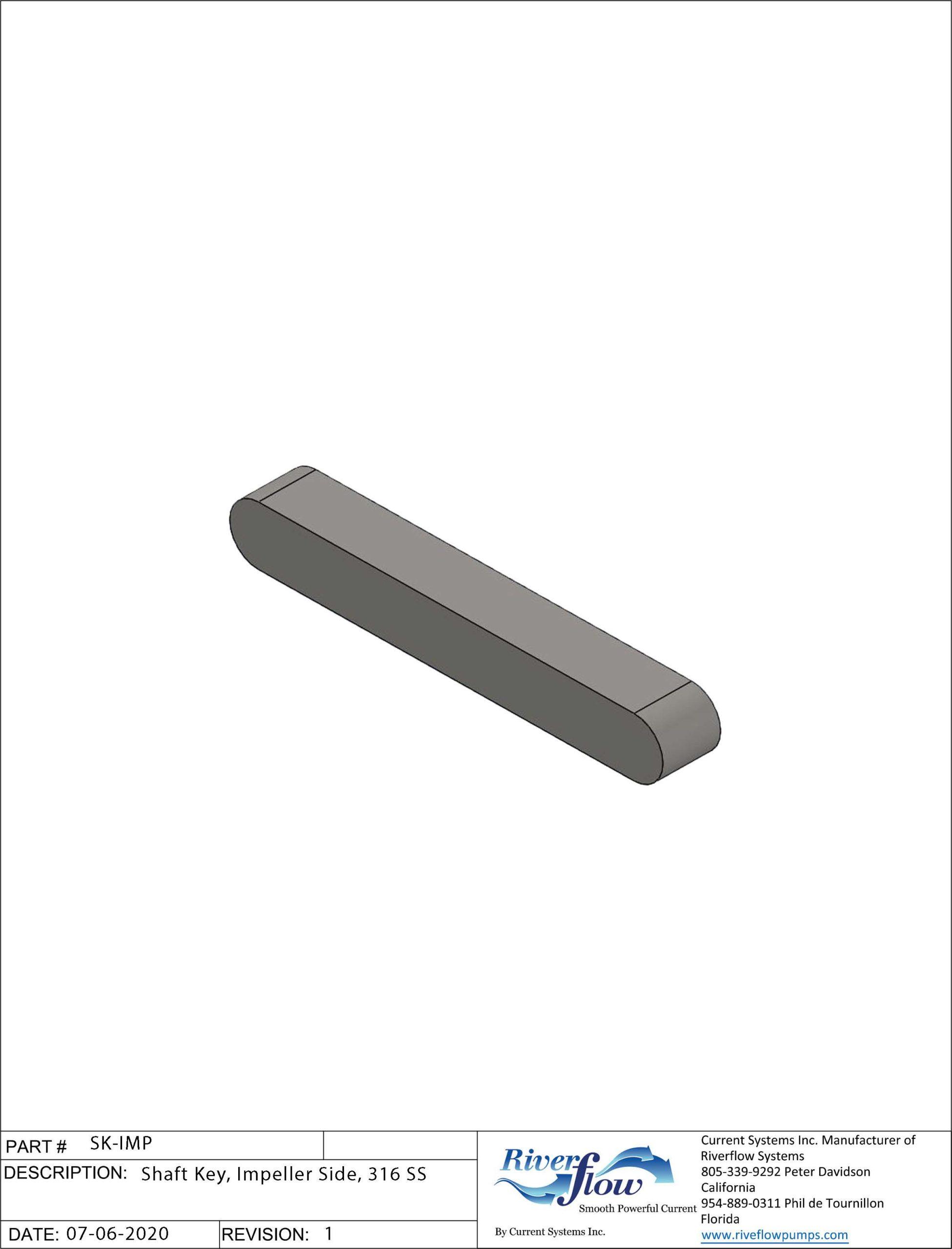 PN#: SK-IMP  Shaft Key, Impeller Side, 316 SS