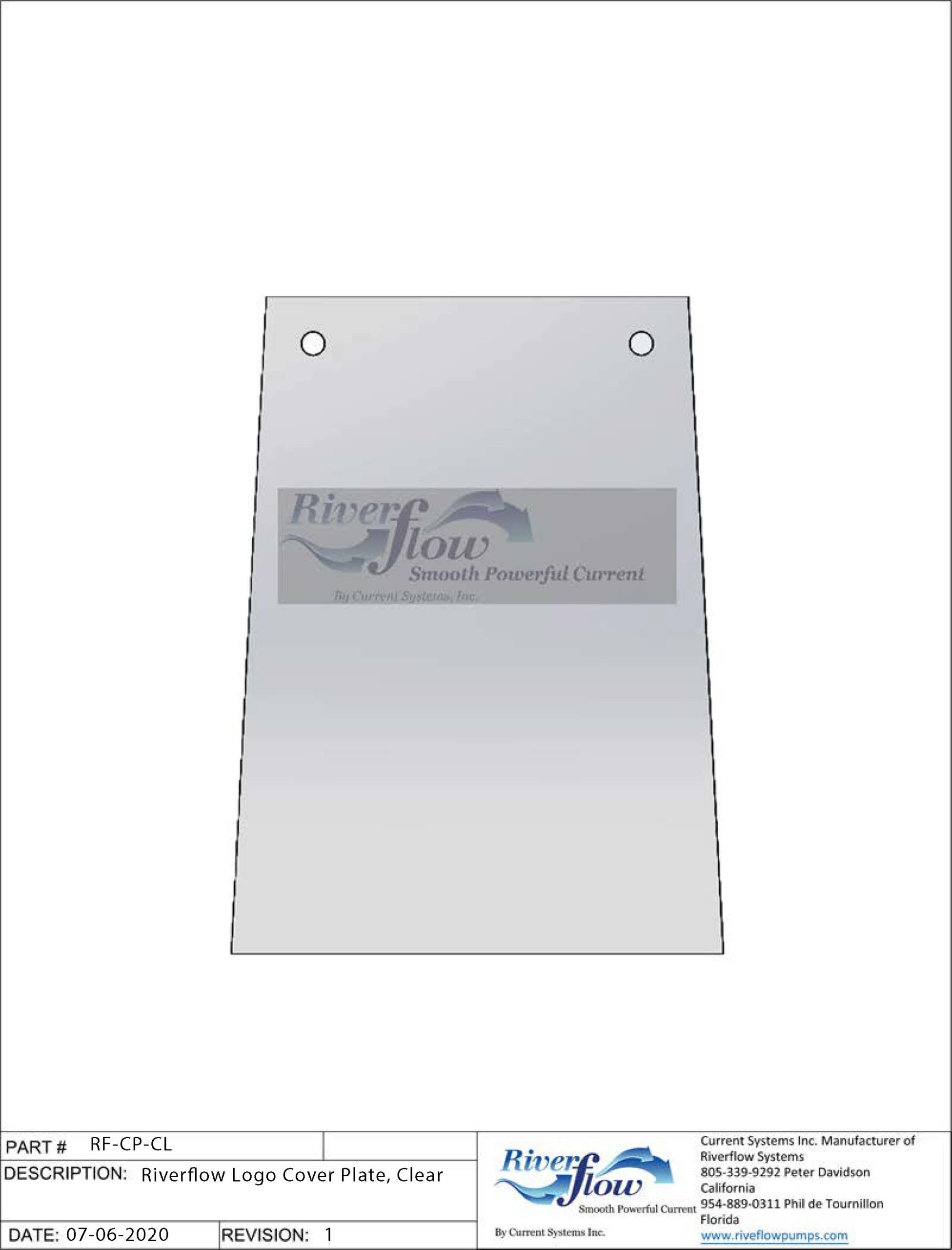 PN#: Riverflow Cover Plate  Riverflow Logo Coverplate, Clear